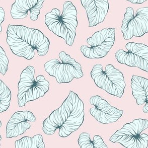 Childish small and cute tropical leaves
