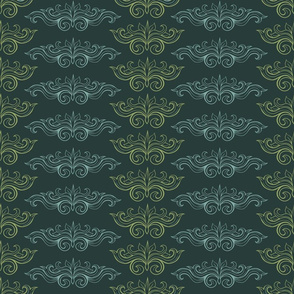 Italian damask ornaments green