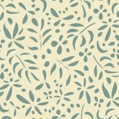 Damask Inspired: Green on Cream