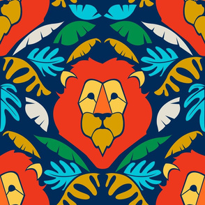 Lion Jungle - large scale - navy
