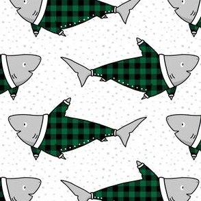 Sharks in Buffalo Plaid Pyjamas in Green - small scale