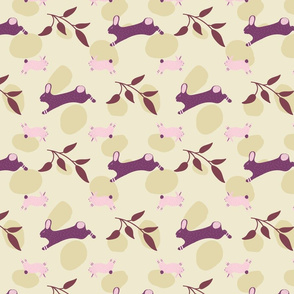 Rabbits with flowers and leaves