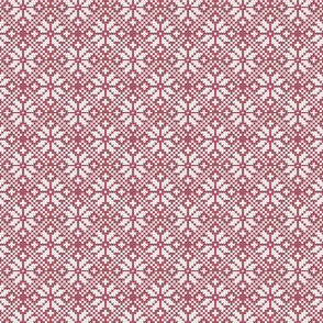 (extra small scale)  fair isle snowflake (red) || winter knits reversed C19BS