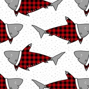 Sharks in Buffalo Plaid Pyjamas in Red - small scale