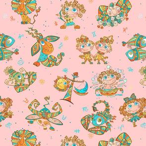 Boho Zodiac Juvenile Pink