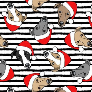 Greyhounds with Santa hats - black stripes - christmas greyhounds - Santa's helper - LAD19