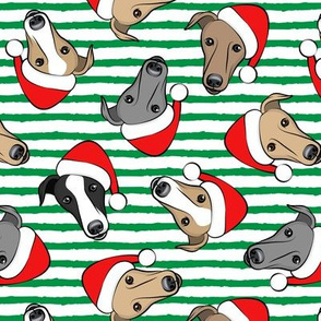 Greyhounds with Santa hats - green stripes - christmas greyhounds - Santa's helper - LAD19