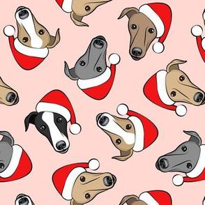 Greyhounds with Santa hats - pink - christmas greyhounds - Santa's helper - LAD19