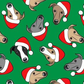 Greyhounds with Santa hats - green - christmas greyhounds - Santa's helper - LAD19