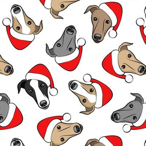 Greyhounds with Santa hats - white - Christmas greyhounds - Santa's helper - LAD19