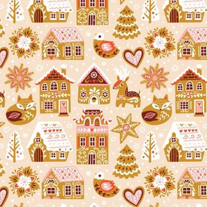 Sweet gingerbread houses, fox, deer and bird