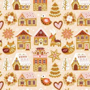 Sweet gingerbread houses, fox, deer and bird