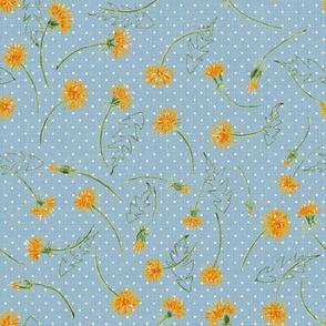 """Helen's Vintage Dandelions (dusty blue) 8"""""""