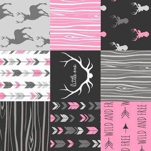 Patchwork Deer - Hot pink, black - ROTATED