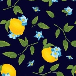 Lemon & Bees, Navy Background