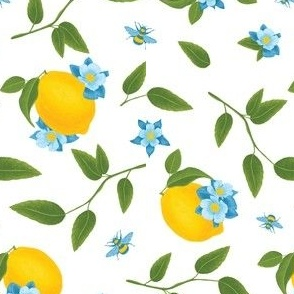 Lemon & Bees, White Background