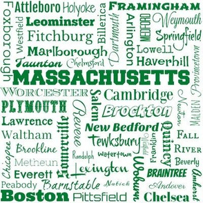 Massachusetts cities, white and green