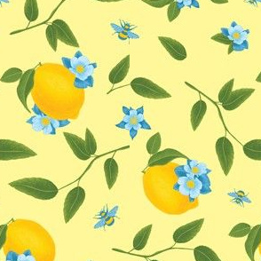 Lemon & Bees, Pale Yellow Background