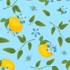 Lemon & Bees, Light Blue Background