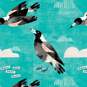Magpie watercolor teal 3265