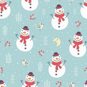 Cute snowman, birds, moon and plants Christmas pattern