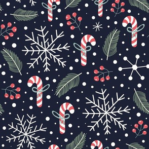Festive Christmas with snowflakes, candies and pine needles
