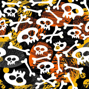 skulls on colorful mess large