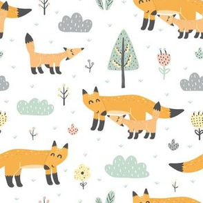 Mother fox and her baby in the forest. Woodland animals