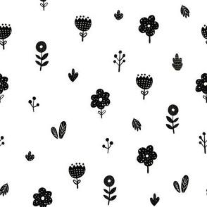 Scandinavian flowers fabric pattern