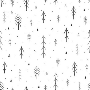 Scandinavian mythical forest with hand drawn trees