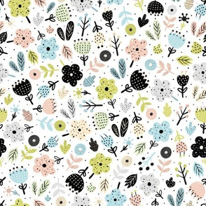 Scandinavian flowers fabric pattern