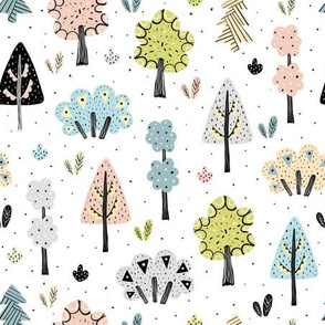 Bright forest with hand drawn trees and plants