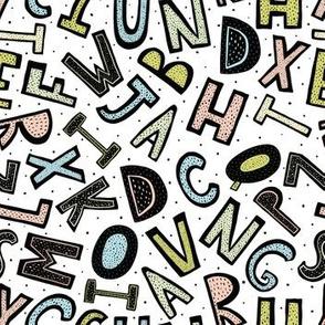 Alphabet letters fashion fabric pattern
