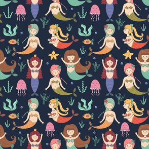 Cute mermaids underwater ocean pattern