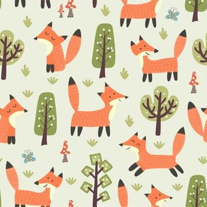 Cute foxes kids and baby nursery pattern