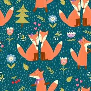 Funny foxes in the woodland, cute forest animals
