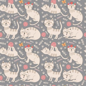 Cute cats kids and baby fabric pattern