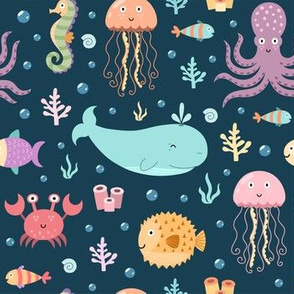 Sea life pattern with whale, crab, octopus, jellyfish, fish