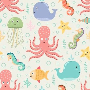 Ocean animals pattern with cute whale, octopus, jellyfish