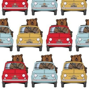 Bears and cars in red, yellow and blue
