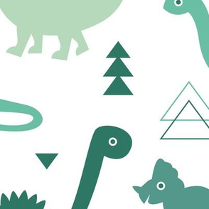 Adorable dino boys fabric with green mint sage and emerald dinosaur geometric triangles and funky animal illustration theme for kids LARGE Jumbo