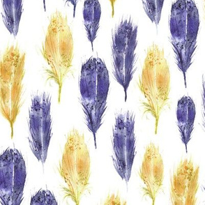 Watercolor feathers in mustard and amethyst violet