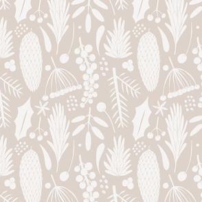 winter botanical  - beige and creme