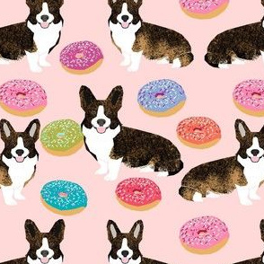 brindle corgi donut fabric - dog and donuts fabric, donut dog fabric, pet fabric, dogs fabric -  pink