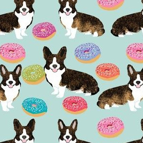 brindle corgi donut fabric - dog and donuts fabric, donut dog fabric, pet fabric, dogs fabric - blue