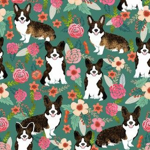 brindle corgi floral fabric, dog floral fabric, dog florals, corgi florals, brindle corgi - green