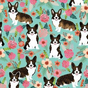 brindle corgi floral fabric, dog floral fabric, dog florals, corgi florals, brindle corgi - mint