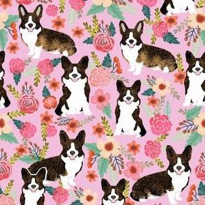 brindle corgi floral fabric, dog floral fabric, dog florals, corgi florals, brindle corgi - pink