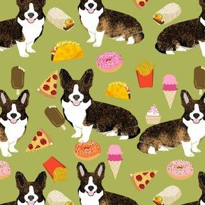 brindle corgi food fabric - junk food fabric, corgi food fabric - lime