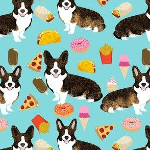 brindle corgi food fabric - junk food fabric, corgi food fabric - blue